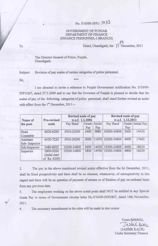 PAY REVISION FOR SI/ASI/SHO/HC OF POLICE NO 5/10/09-5FP1