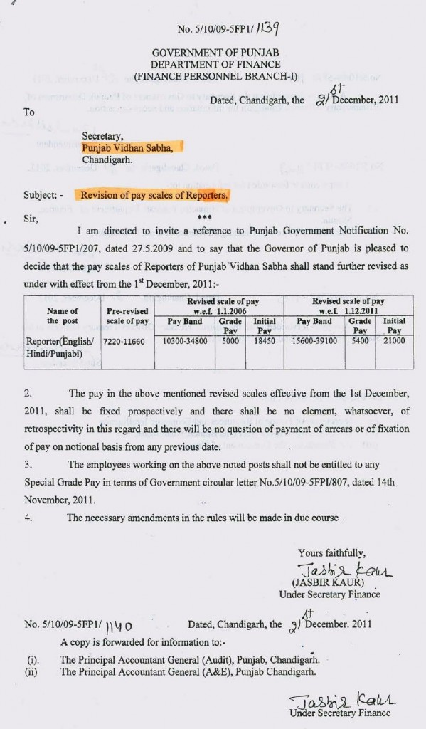 pay scale revision of reporters
